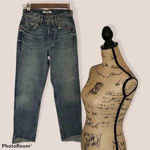 Grlfrnd Helena Raw Hem Straight Button Fly Jeans